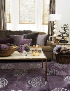 Shade Idea Modern Living Room With Purple Rug, Chocolate Brown Sofa Couch,  Purple Cushions And Brown Curtains Gunna Try This In Our New Apartment!