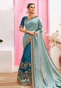 Buy Grey Chanderi Silk Half N Half Saree 212071 with blouse online at lowest price from vast collection of sarees at Indianclothstore.com. Chanderi Silk Saree, Silk Sarees, Half Saree, Long Cut, Blouse Online, How To Dye Fabric, Color Shades, Head To Toe, Indian Sarees