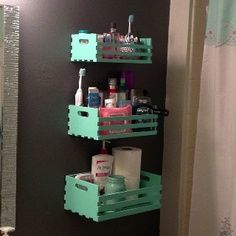 DIY Bathroom storage: Hobby lobby plain wood crates, remove one side bar, paint sample from home depot, and hang tiered for storage in small places! Home Projects, Home Crafts, Diy Home Decor, Diy Storage, Bathroom Storage, Cabinet Storage, Hanging Storage, Wall Storage, Bathroom Vanities