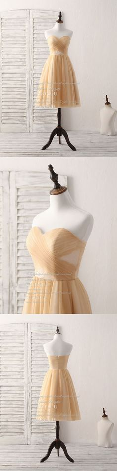 Simple tulle champagne short prom dress tulle bridesmaid dress