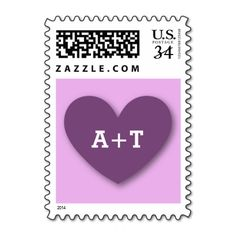Monogram Heart Bride and Groom Wedding V07A PURPLE Stamps #wedding #stamps #love #marriage #romance #bride #groom #jaclinart #postage #monogram #heart #purple