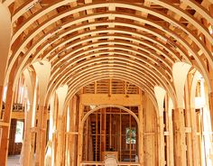 Our lunette vaults can be built to your specifications. Lunette vaults are intersecting barrel ceilings or archways at different heights. Barrel Ceiling, Dome Ceiling, Ceiling Detail, Ceiling Design, Ceiling Ideas, Timber Structure, Wooden Buildings, Wood Detail, Vaulting