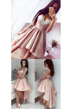 Pink Homecoming Dresses, Short Prom Dresses, Short Pink Prom Dresses With Pleated High-Low Sweetheart Sale Online WF02G48-187