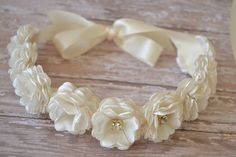 Flower Girl Headband Wedding Headpiece by LilMajestyBoutique