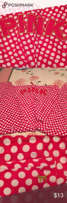 Pink pj bottoms Pink red flannels with white polka dots size small Measures 36 Waist elastic in back draw string in front 31 inch Inseam they seem more like a medium No pilling tears or stains EUC PINK Intimates & Sleepwear Pajamas