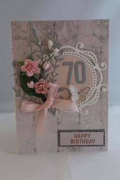 Once I had made my sisters card I continued on with age birthday cards, this one is a 70th birthday card. Again I used Kaisercraft PS I Love you paper , mounted the happy birthday on a scrap of gli…