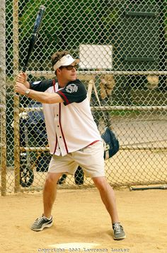 plays in the Broadway Softball League May 16, 2002 in New York City. The League is comprised of groups of people who work on Broadway and Off Broadway shows, as well as Union teams and Theatrical organizations
