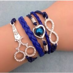 Hairstylist Bracelwt✨9 available✨ Cute bracelet on blue cords. This has a chain extender and lobster clasp on the back. New in package. Jewelry Bracelets