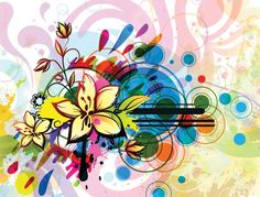Free abstract floral vector background. Colorful flower graphics for your colorful design artworks.