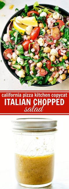 ITALIAN CHOPPED SALAD -- California Pizza Kitchen Copycat with the best lemon dijon herb dressing. So many great flavors and simple to make! I via chelseasmessyapron.com