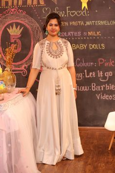 White Anarkali Gown FatimaBi Long Floor Length Dress Jodha Plus size Available Plus Size Wedding Gowns, Plus Size Dresses, Nice Dresses, Fall Dresses, White Anarkali, Anarkali Gown, Kurta Designs, Blouse Designs, Bollywood Style Dress