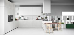 Flexibility, simplicity, elegance, attractiveness and a contemporary design form the creation of the new kitchen model Pia. Door fronts and circular surroundings in matching colour diamond lacquer cry. Kitchen Models, Cuisines Design, New Kitchen, Contemporary Design, Design Art, This Is Us, Kitchen Cabinets, Table, House