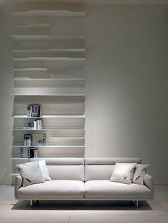 MDF Italia | minimalist. White. Living Space. Room. Sofa. Bookcase. Design. Decor. Home. Interior.
