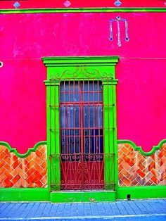 As you know I love neon colours. So I thought I would share some beautiful neon painted walls and homes. Cool Doors, Unique Doors, Doorway, Windows And Doors, Monuments, Porches, Color Inspiration, Gates, Street Art