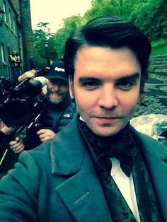 A Cravat A Day...: Andrew Lee Potts as himself dressed as the character of William Greg from 'The Mill' :-) BTS Selfie