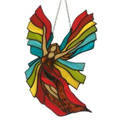 Rainbow Stained Glass Angel - a stained glass suncatcher made with Tiffany technique. Christmas decoration. See other tiffany glass angles: Angels