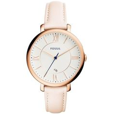 Fossil  Women's Jaqueline Light Brown Leather Strap Three-Hand Watch (3.290 UYU) ❤ liked on Polyvore featuring jewelry, watches, relógios, pastel pink, fossil watches, fossil jewellery, charm jewelry, charm watches and fossil charms