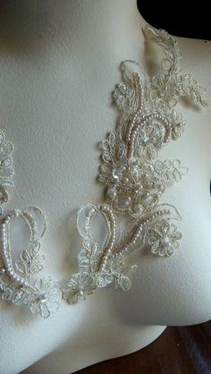 Beaded Lace Applique Pair in Gold Champagne by MaryNotMartha