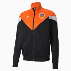 Blouson de survtement of Valencia CF the Iconic MEDIA pour homme  Puma Black Vibrant Orange  PUMA Shoes  PUMA Valencia, Orange, Chevron, Puma Cat, Black Puma, Cat Logo, Retro Look, Pumas Shoes, Crew Neck Sweatshirt