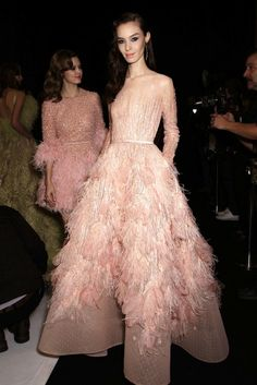 Gorgeous embellishments and feathered gowns backstage at Elie Saab's dreamy SS '15 couture show