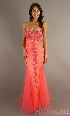 $161, only in coral. Long Sweetheart Mermaid Dress at PromGirl.com
