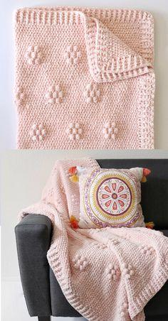 Free Pattern - Crochet Velvet Flowers Blanket - Crochet and Knitting Patterns Crochet Patterns Amigurumi, Crochet Blanket Patterns, Baby Blanket Crochet, Crochet Baby, Free Crochet, Knitting Patterns, Crochet Blankets, Afghan Crochet, Knitting Ideas
