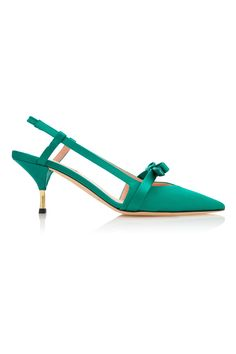 Shop Satin Sling Back Pump . This **Rochas** pump is rendered in satin and features a bow embellishment and minimalist silhouette. Fancy Shoes, Green Fashion, Shoe Collection, Luxury Fashion, Women's Fashion, Designer Shoes, Kitten Heels, Footwear, Pumps
