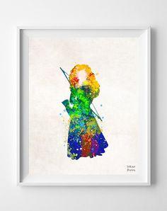 Brave, Merida, Princess, Print, Watercolor, Disney, Illustrations, Watercolour, Home Decor, Nursery, Baby, Room, Gift, Poster, Art [NO 691]