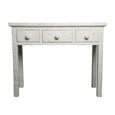White Bone Inlay Dressing Table - This elegant and sophisticated white bone inlay dressing table is a romantic addition to any bedroom or living room. Delicately adorned with hundreds of hand-carved pieces of camel bone, the lovely Rangoli pattern creates a delightfully subtle contrast between the white of the wood and the sand-coloured camel bone. This Indian dressing table will add interest to your home for years to come.