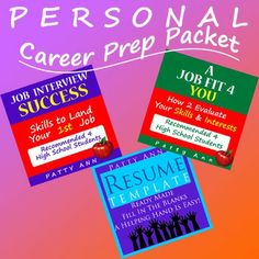 Check out this fantastic PERSONAL CAREER PREP 3 PACK ~ ! It's all you need to help you get a job that fits you. All these individual hot sellers are now packaged at a $avings to you. Included are:  Job Fit 4 You: How 2 Evaluate Your Interests & Skills ~  Job Interview Success: Skills to Land Your 1st Job!  Resume Template > Generic, Ready Made Word Doc. Just Fill It In!