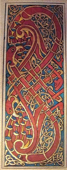 Reproduction d'après le Livre de Kells . (parchemin, or à la feuille , pigments : cinabre , orpiment, pastel pur et vert émeraude) . 15 x 6 cm  .