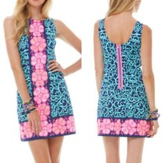 Lilly Pulitzer Delia Shift Dress- hellooo hot pink zipper!