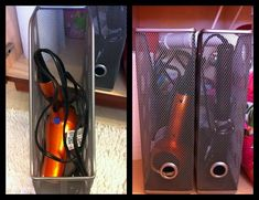 magazine holders for bathroom organization. Great idea for hair dryers and irons! I just toss mine under the sink but this is much better!