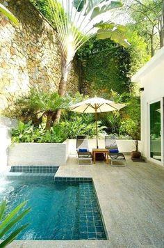 Here are 40 truly awesome yet easy to construct DIY swimming pool ideas to turn your backyard into a dose of refreshment! tags: backyard ideas, swimming pool design, backyard pool ideas on budget, small backyard pool, backyard pool lanscaping. Amazing Swimming Pools, Small Swimming Pools, Small Pools, Swimming Pools Backyard, Small Backyard Landscaping, Swimming Pool Designs, Backyard Patio, Small Backyards, Backyard Ideas