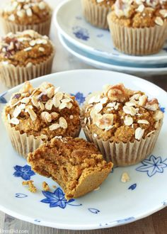 No Flour, Sugar Free, Oil Free, Dairy Free Healthy Pumpkin Muffins Recipe - Love pumpkin baked goods but hate junk food? These healthy pumpkin muffins are tasty and guilt free (gluten free, sugar free, oil free & dairy free)! #pumpkinmuffins #muffins #brendid #pumpkin #pumpkinbread #glutenfree #glutenfreemuffins