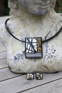 Handmade Jewellery Set- Elegant Rectangle Black, White and Gold Necklace and Earrings. £18.00, via Etsy.