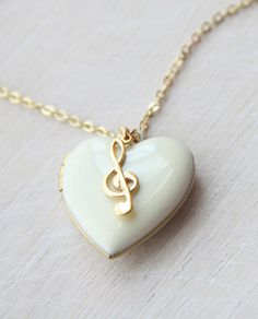 Musical White Enamelled Heart Locket with Treble Clef Locket Charms, Heart Locket, Locket Necklace, Pendant Necklace, Gold Locket, Necklace Charm, White Necklace, Music Jewelry, Cute Jewelry