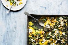 Quick saffron polenta bake: double-cooked – once in the pan and then finished under the grill with a scattering of squash, kale and feta.