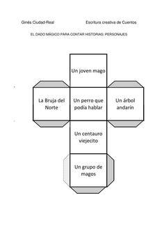 DADO PERSONAJES-1 Elementary Spanish, Teaching Spanish, Teaching Resources, Study Spanish, Spanish Lessons, Story Cubes, 2nd Grade Writing, Visual Learning, Writing Strategies