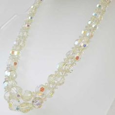 Double clear crystal vintage necklace is so bridal and wedding suitable Sparkling multi colors reflect of the faceted crystal to enhance any bride outfit