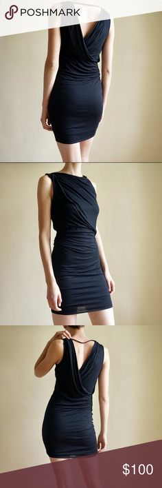 bb15187ec8e96 HELMUT LANG black mini dress Black HELMUT LANG mini dress with high neckline,  draped bodycon