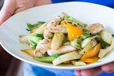 Fennel and pear stir-fry with chicken tenderloins