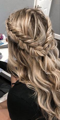 Fishtail Braid Wedding, Messy Fishtail Braids, Prom Braid, Braided Prom Hair, Prom Hair With Braid, Braids For Prom, Bridesmaid Hair Half Up Braid, Loose Braids, Cute Prom Hairstyles