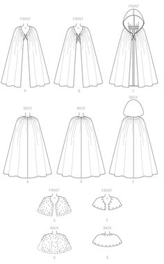 Dress Design Drawing, Dress Design Sketches, Fashion Design Drawings, Fashion Sketches, Clothing Patterns, Dress Patterns, Art Clothing, Cloak Pattern, Capelet Pattern Sewing