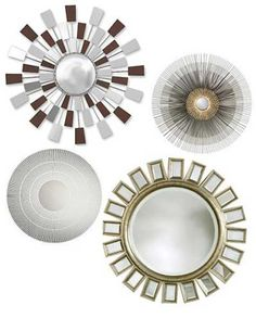 Starburst mirrors. clockwise from top left: Sunburst Mirror ($298 at Chiasso.com), Starbust Mirror ($199 at CrateandBarrel.com), Cyrus Round Mirror ($229.99 at Target.com), Starburst Mirror ($69.95 at CB2.com).