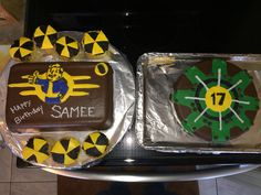 Fallout 4 cake theme for this years birthday party. This was our first attempt with fondant. Awesome first try from my perspective.