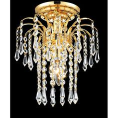 Falls Gold One-Light 9-Inch Flush Mount with Royal Cut Clear Crystal