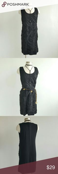 "DKNY Black Sleeveless Dress Box style,  plerfect for evening or cocktail party, gentle worn, unlined, combination of different fabrics, front is wrinkle pattern 100% silk and back 94% modal 6% elastin,  starchy and very comfy. Measurements are length 35"" bust 40"" hips 40"" DKNYC Dresses"