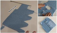 ÖNÜ ÜÇGEN DİLİMLİ YELEK YAPIMI   Nazarca.com Baby Cardigan Knitting Pattern, Baby Knitting Patterns, Baby Patterns, Baby Girl Cardigans, Crochet Bebe, Crochet Slippers, Sweater Design, Knit Fashion, Christmas Stockings
