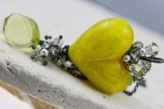 SALE  40 off  Yellow Glass Heart Necklace  The by JewelsByLDesigns, $66.00